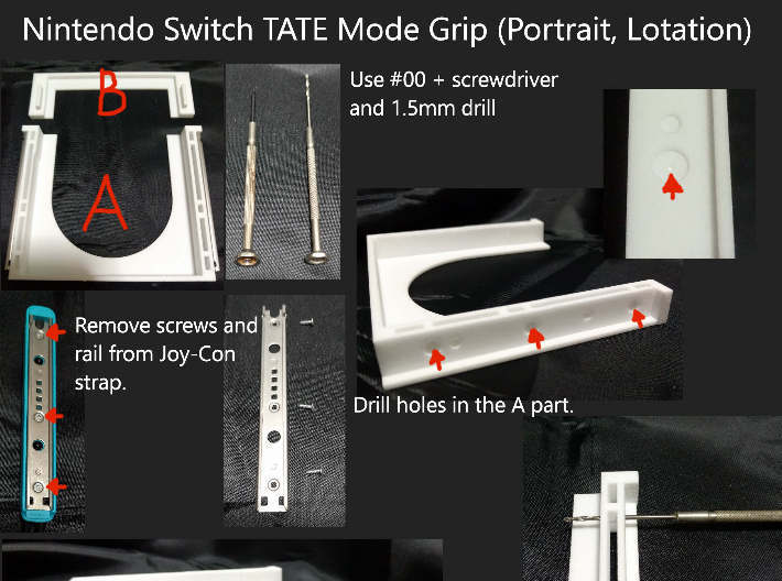 Nintendo Switch TATE Mode Grip (Portrait, Lotation 3d printed How to build #1