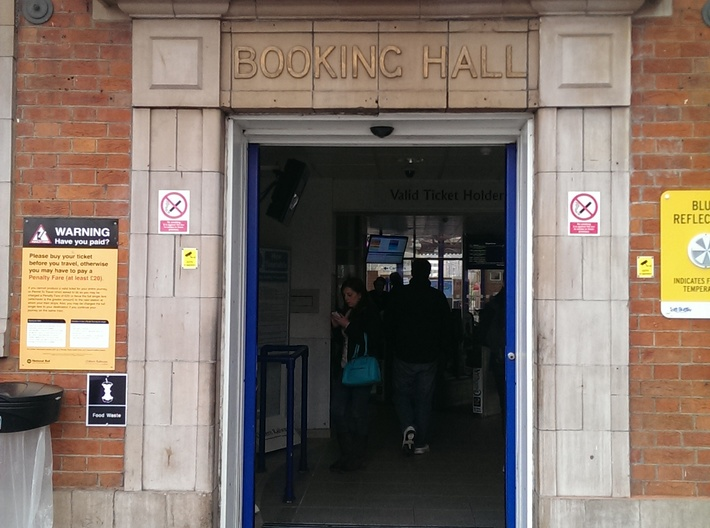 Stone door Surround with BOOKING HALL lettering 3d printed