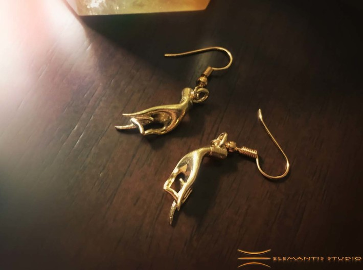 Karana Mudra V1 Earrings 3d printed Raw Brass (Hooks not included)