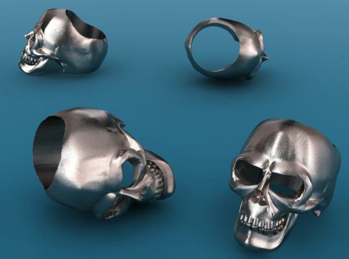 Skull Ring (large) 3d printed Stainless stell render