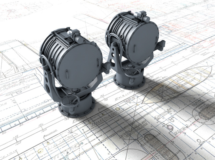 """1/96 Royal Navy 44"""" Searchlight x2 3d printed 3d render showing part detail"""