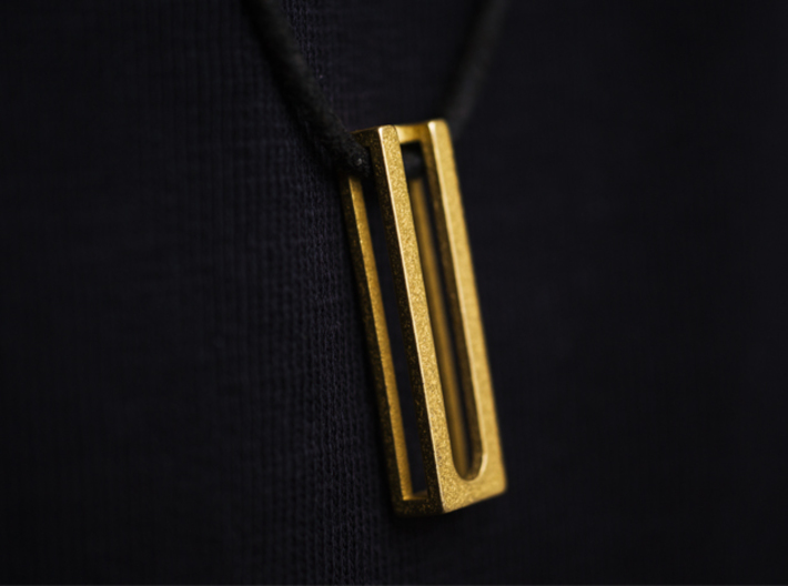 Minimal ease.d Pendant 2/4 3d printed minimal Pendant in polished gold steel