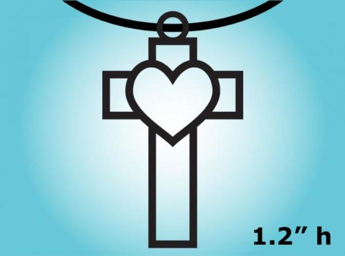Heart Cross Necklace Charm 3d printed 2D Rendering