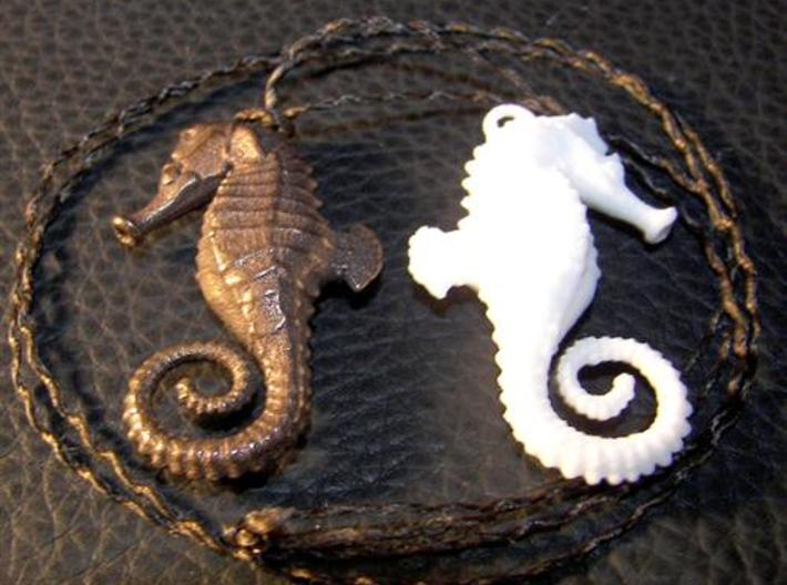 Seahorse Necklace Pendant 3d printed Glossy Antique Bronze & White, Strong & Flexible materials