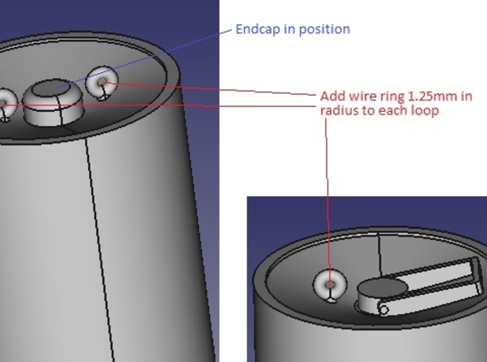 35th_8_Stowed_Depth_Charges 3d printed Diagram showing end cap assembled and the location of 2.5mm diameter wire loops