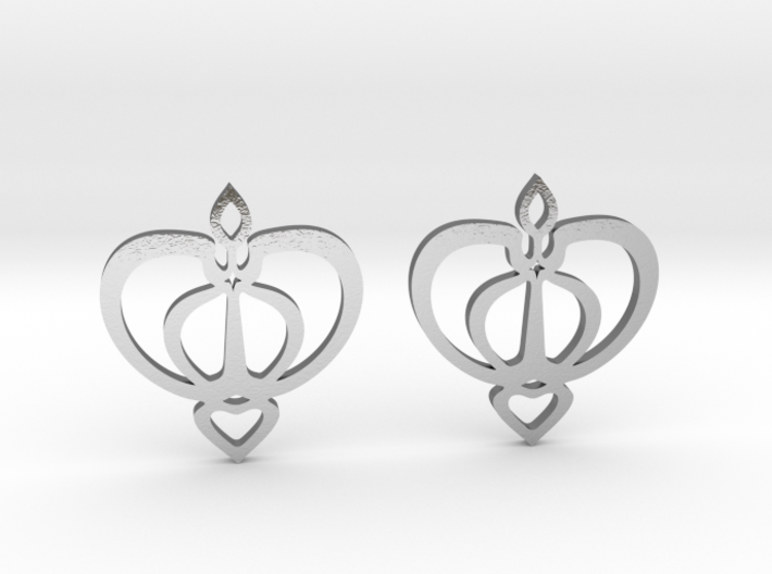 Earrings with a heart motif 3d printed