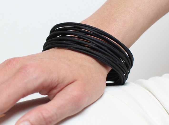 black statement bangle modern jewelry design gift  3d printed black statement bangel on wrist