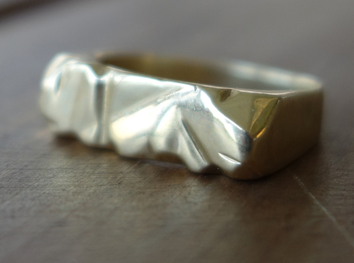 Abstract Stone Ring 3d printed Polished Brass