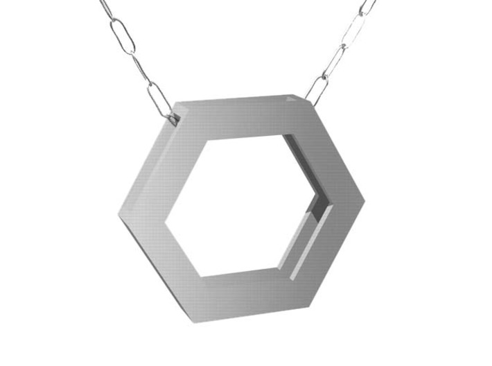 Simple Hexagon Pendant 3d printed It might look like this in Stainless Steel.