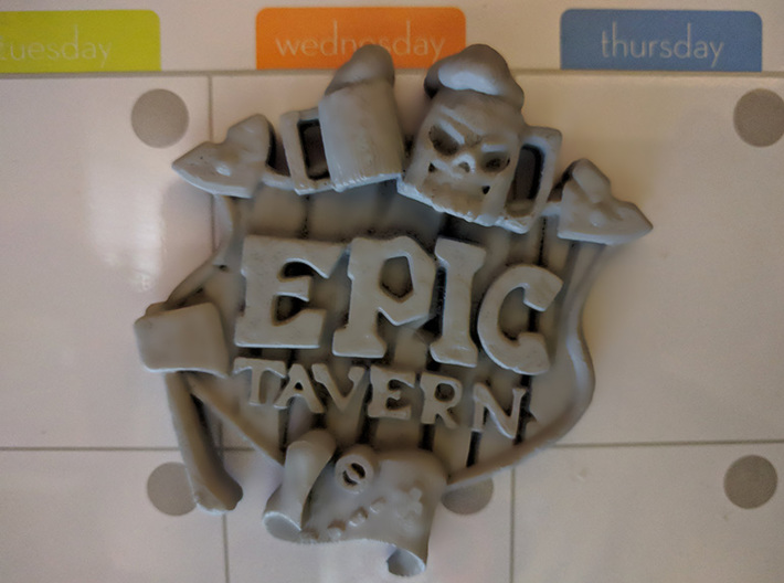 EPIC TAVERN Coat Of Arms 3d printed Prototype FDM PLA print with glued magnet