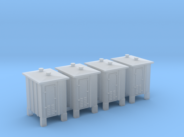 4 pcs Z scale signal relay box on sprue 3d printed