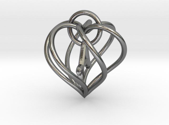 My Heart is Yours pendant, interlocking Initial A 3d printed