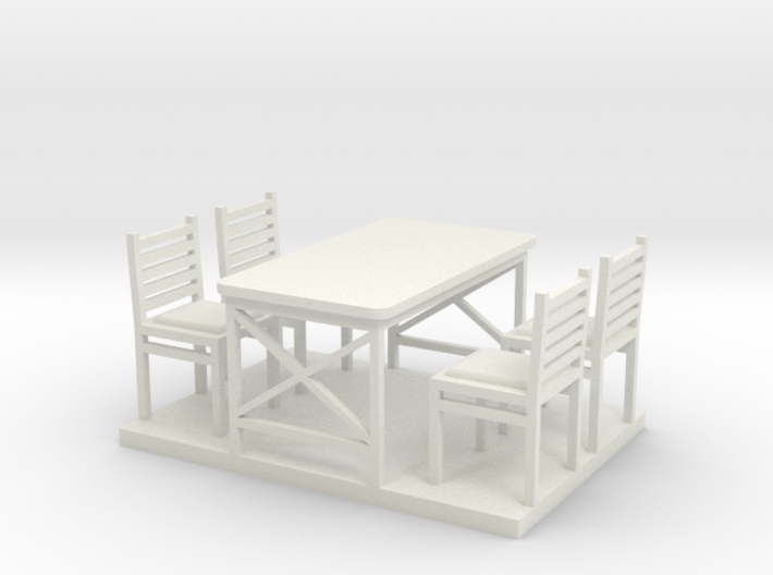 Waffle HouseTable and Chairs HO 87:1 Scale 3d printed