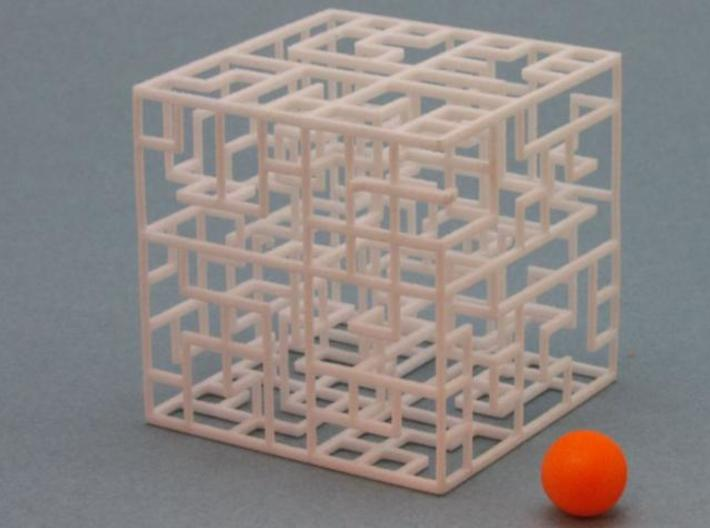 Escher's Playground 3D Maze Cube 3d printed 7x7x7 Maze with ball
