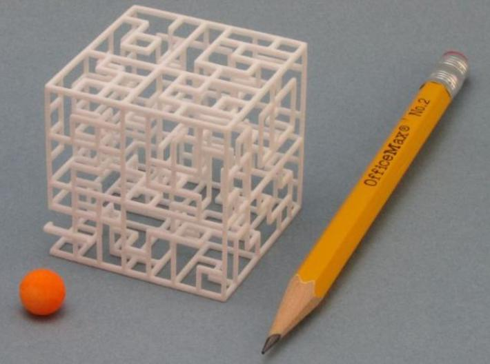 Escher's Playground 3D Maze Cube 3d printed Ball is included