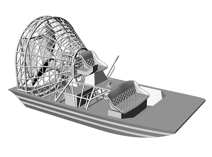 Airboat with cage in 1/87 - Part 1 3d printed Part 1+ 2