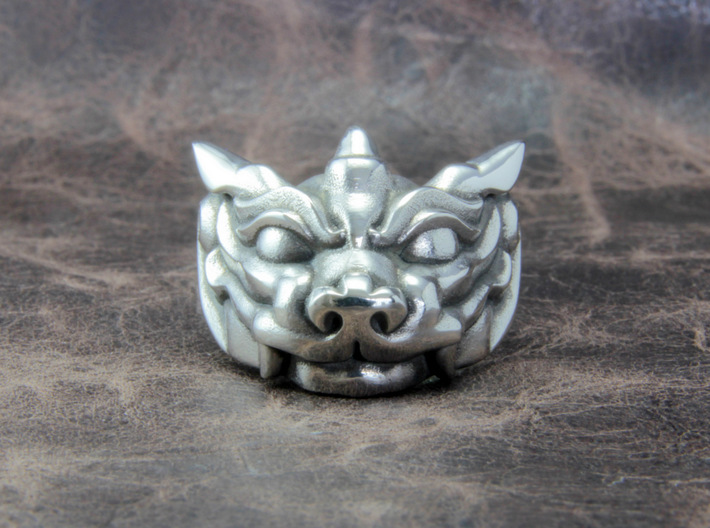 """Fu Dog (Komainu) """"um"""" Ring 3d printed This material is Polished Silver , Patinated with bleach"""