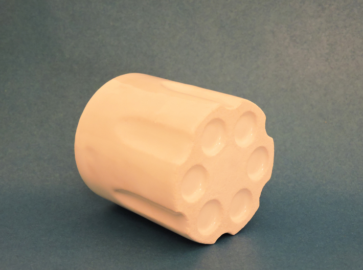 Revolver Cylinder Cup 55ml 3d printed Gloss White Porcelain