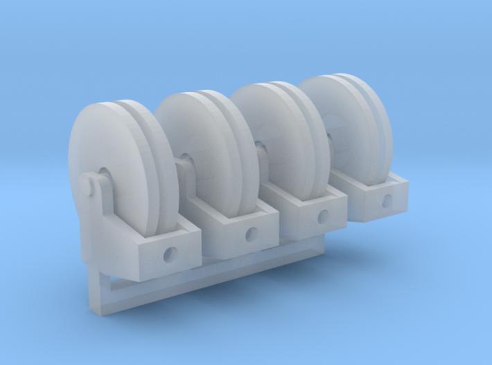 Hose Reel Flat Base 1-87 HO Scale 4 pack 3d printed