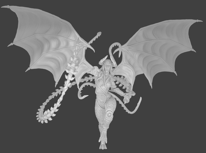 Female demon character 3d printed Render front