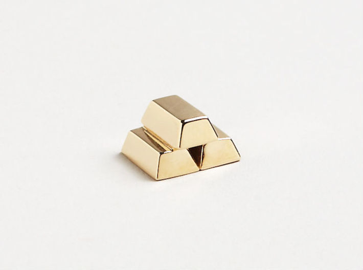 Stacked Gold Bars 3d printed 14K Gold Render