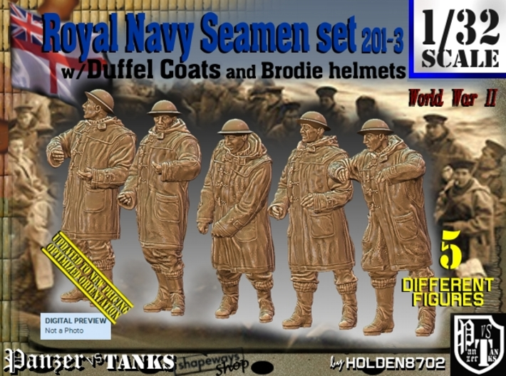1/32 Royal Navy Duffel Coat Set201-3 3d printed