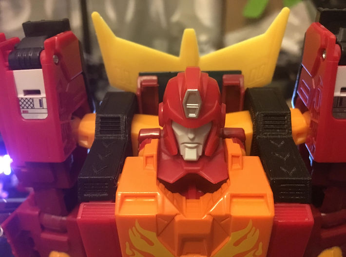 POTP Rodimus Prime or Unicronus shoulder filler 3d printed Please do note that this part is not from Shapeways. It was printed on my printer using Black PLA