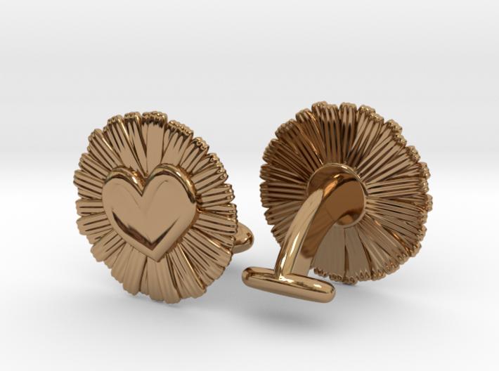 Daisy Heart Cufflinks 3d printed