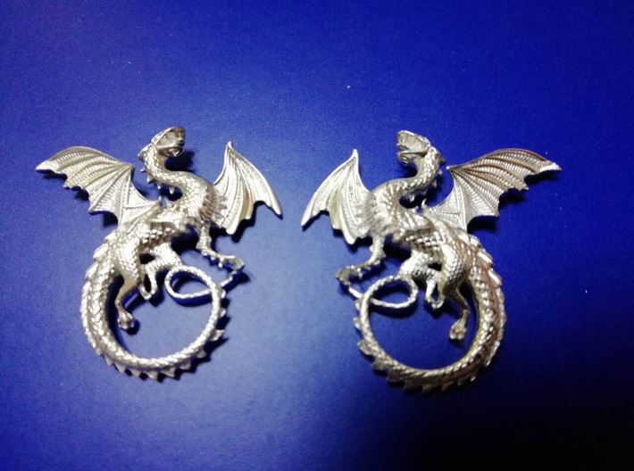Whitby-wyrm dragon earrings 3d printed