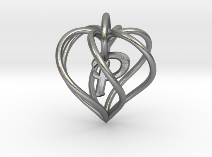 My Heart is Yours pendant, interlocking Initial P 3d printed