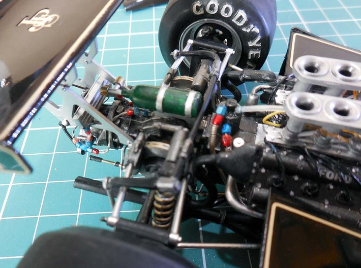 set of compression fittings scale 1/20th 3d printed Installed in a Tamiya Lotus 78 1/20th.