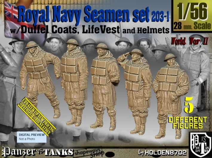 1/56 Royal Navy D-Coat+Lifevst Set203-1 3d printed