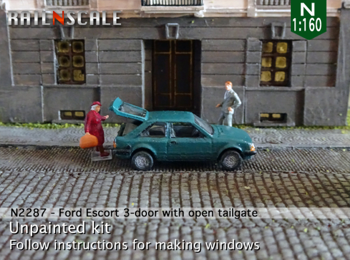 Ford Escort 3-door with open tailgate (N 1:160) 3d printed