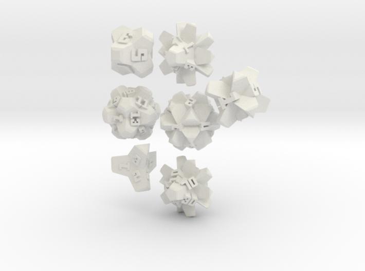 Brutalist Dice Set — Version 2 (7 pc.) 3d printed