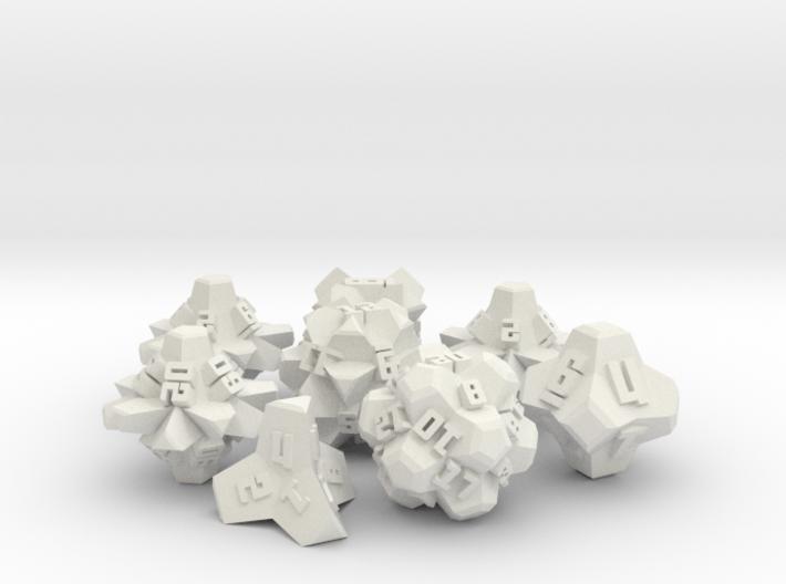 Brutalist Dice Set — Version 2 (8 pc.) 3d printed
