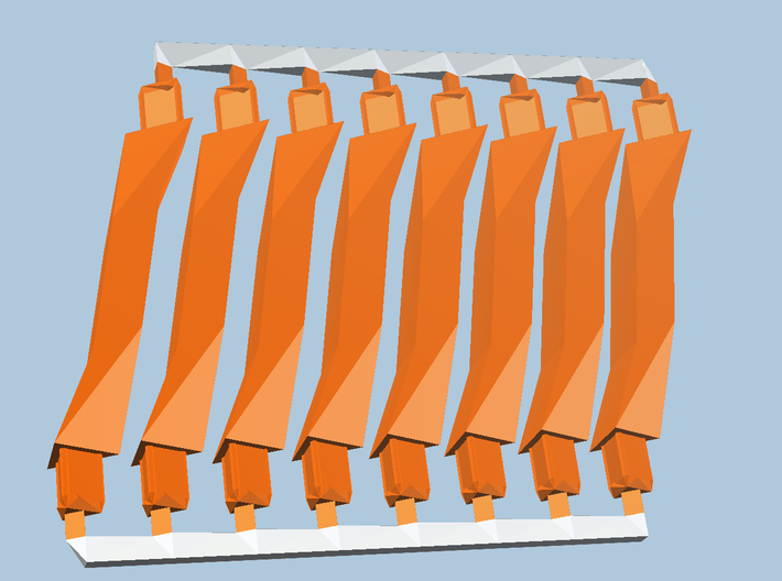 8 Orange Super-Short struts 3d printed