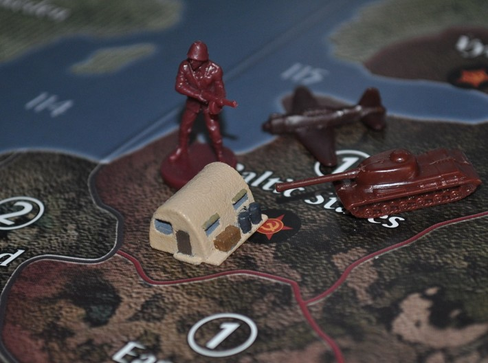 Supply Depot 3d printed Custom Painted Supply Depot on an Axis & Allies Global 1940 Board.