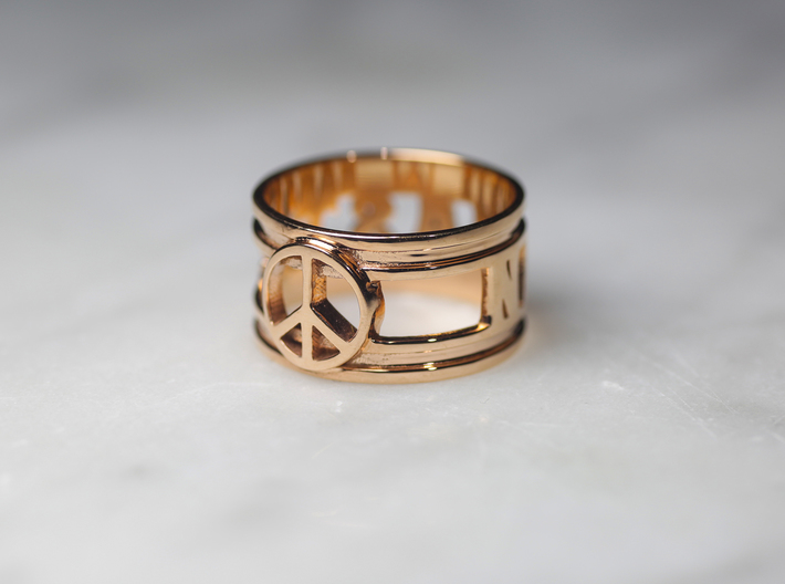 Namaste w/ Peace Sign Charm, 14k Rose Gold Plated 3d printed
