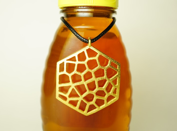 Honeycomb Pendant 3d printed Honeycomb Pendant in Polished Gold Steel