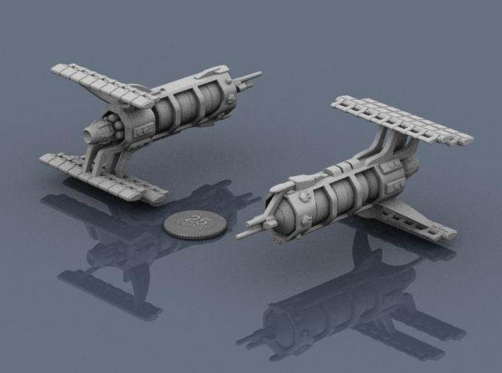 LCS Carrier 3d printed Renders of the model, plus a virtual quarter for scale.