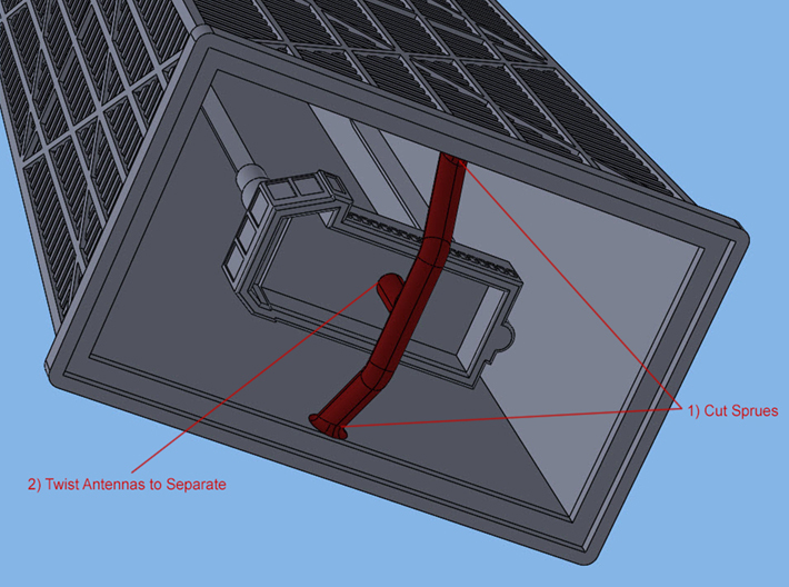 John Hancock Center (1:2000) 3d printed Instructions for sprue removal.