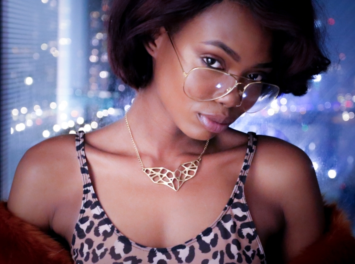 Goldmine Necklace 3d printed Photography, editing,and scenery by CreativeDivisions Styling, make-up & modeling by Patricia Mokosi