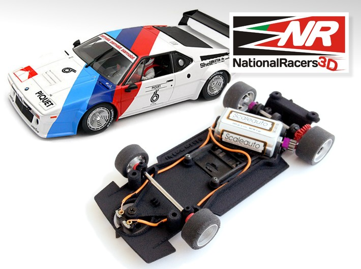 3D Chassis - Fly M1 (Combo) 3d printed Chassis compatible with fly model (slot car and other parts not included)
