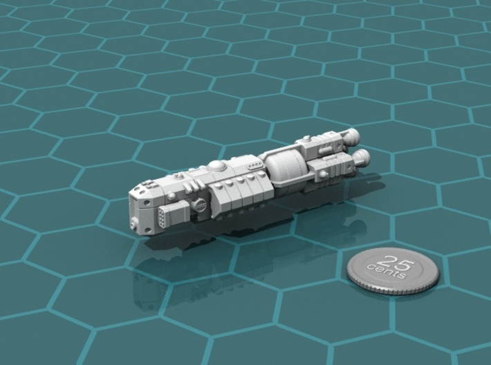 MCSF Battleship 3d printed Render of the model, with a virtual quarter for scale.
