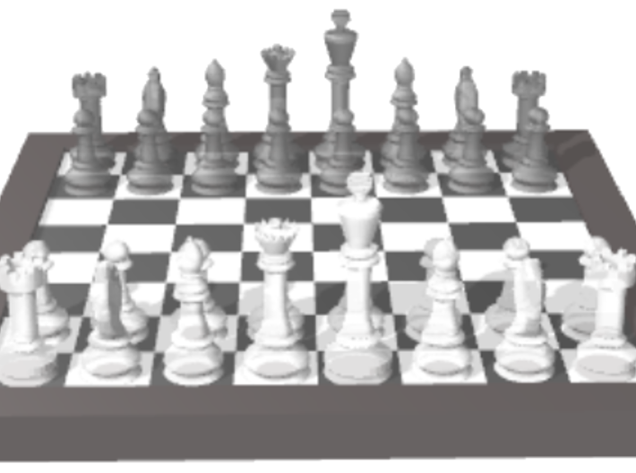 1/18 Chess Board and Pieces (Game Start) 3d printed