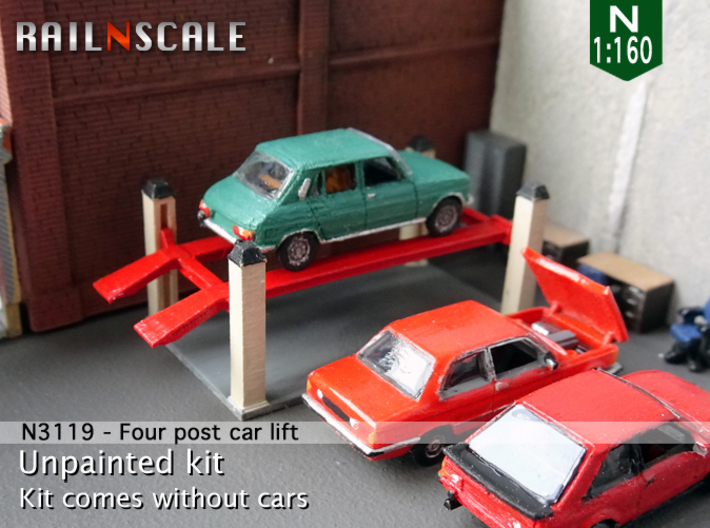 Four post car lift (N 1:160) 3d printed