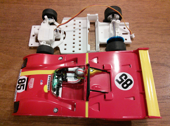 CK7 Chassis Kit for 1/32 Scale 2.4ghz RC Mag Steer 3d printed Prototype of CK7 under construction to convert 1/32 scale Slot.it Ferrari 312 PB to mag steer.