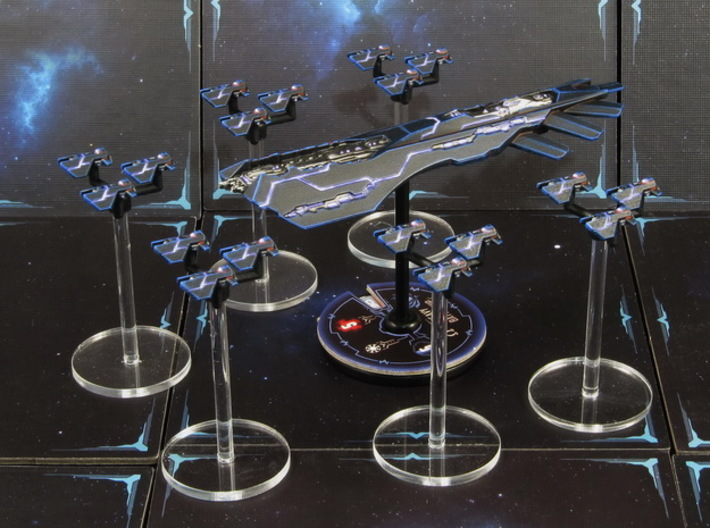 Space fighter P squadrons (6pcs) - Fleet Commander 3d printed Hand-painted Frosted Detail