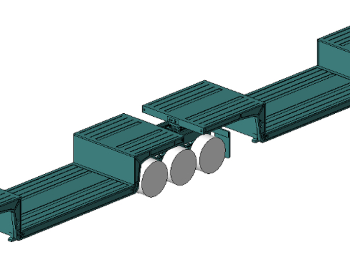 1/64th Double Drop Flatbed B Train trailers 3d printed