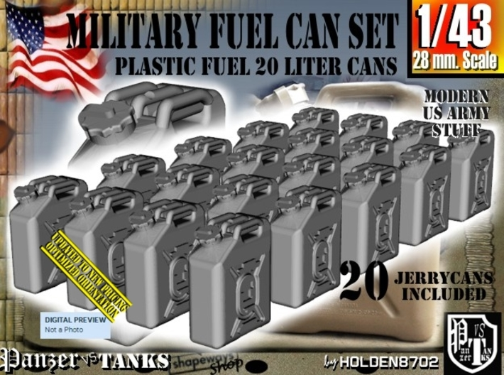 1/43 Military Fuel Can Set201 3d printed